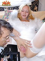 Sexy blonde bride showing her pussy to a photographer and letting him lick and fuck her